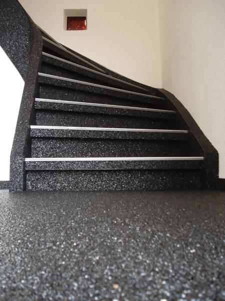 Treppen Kieselbeschichtung Steinteppich
